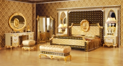 luxury Italy style wood carving bedroom set, dresser set