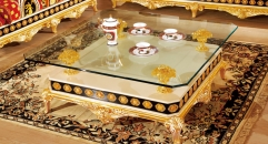 luxury Italy style wood carving glass coffee table