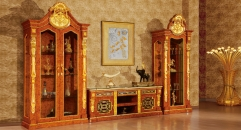 luxury Italy style wood carving TV table, one-door showcase, Two-door showcase
