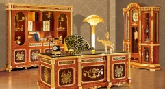 luxury Italy style wood carving desk and book cabinet