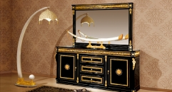luxury Italy style wood carving one-door sideboard and mirror