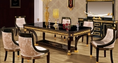 luxury Italy style wood carving dining table and chair