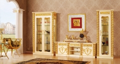 luxury Italy style wood carving one-door cabinet, double-door cabinet, TV table