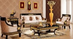 luxury Italy style wood carving sofa set and coffee table