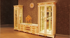 luxury Italy style wood carving TV table, one-door cabinet, double-door cabinet