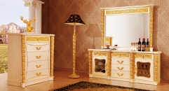 luxury Italy style wood carving sideboard, mirror, five layer dresser