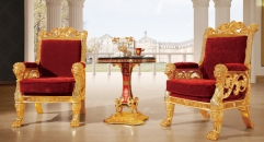 luxury Italy style wood carving gold planted leisure table and chair