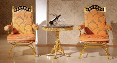 luxury Italy style wood carving gold planted casual table and chair
