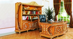luxury European style woodcarving Bookcase, Office Desk , Office Chair