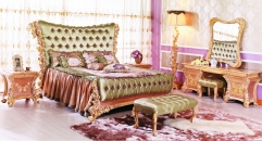 luxury European style woodcarving rose bedroom set, dresser set, lamp,