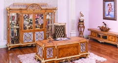 luxury European style woodcarving Bookcase, Offce Desk, Offce Chair