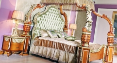 luxury European style woodcarving Bedroom Set, Bed, Night Table