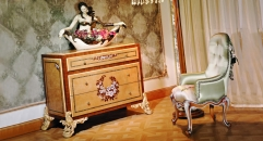 luxury European style wood carving Cabinet 3 Drawers