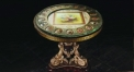 luxury European style wood carving round Coffee Table, flower decorated