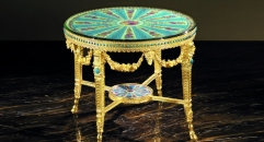 luxury European style copper paint wood carving copper table