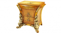 classical Baroque style wood carving rose night table