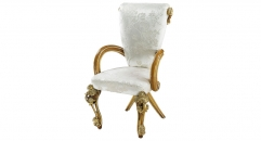 classical Baroque style wood carving armed dining chair