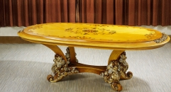 classical Baroque style wood carving rose dining table
