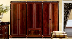 luxury new classical style wood carving 6-door wardrobe