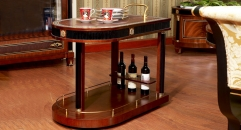 luxury new classical style wood carving serving cart