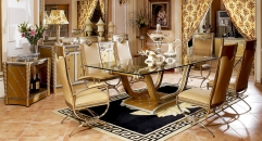 luxury new classical style wood carving long dining table, glass top