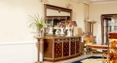 luxury new classical style wood carving buffet and mirror