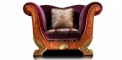 antique French style wood carving armchair in purple, 1 seater sofa