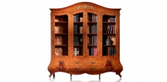 antique French style wood carving Bookcase w/ glass door