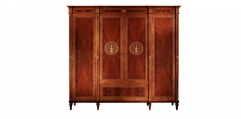 antique French style wood carving 4 door wardrobe
