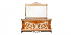 antique French style wood carving Sideboard and mirror