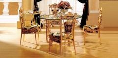 luxury classical Gold 24K style DINING SET (1table+6chair)