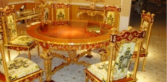 luxury classical Gold 24K style dining set(1table+1 turn plate+6chair)
