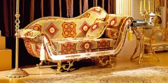 luxury classical Gold 24K style couch, chaise lounge, loveseat