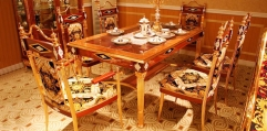 luxury classical Gold 24K style Dining set(1table+2 armchair+6chair)
