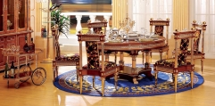 luxury classical Gold 24K style set(1table+1 turn plate+6chair)