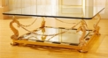 luxury classical Gold 24K style glass top coffee table, dragon shape supports