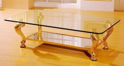 luxury classical Gold 24K style glass top coffee table, decorative supports