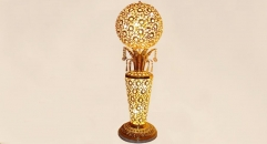 luxury decoration antique Gold 24K style vase shape pierced floor lamp