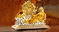 luxury decoration antique Gold 24K style sculptured table clock