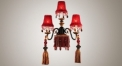 Antique tassel decorative bronze & red colour wall lamp