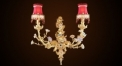 classical flower decorative wall lamp, copper 24K gold plated