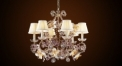 Antique crystal & copper chandelier