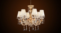 Antique fabric lampshade style crystal chandelier(small size), plastic pendent lamp