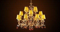 Antique lampshades style crystal chandelier(big size),residential lighting, copper gold plated