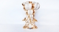 porcelain three Arowana and conch vase with crystals