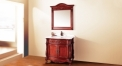 red brown oak, volakas white marble cabinet and mirror