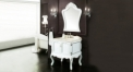 white and hand paint silver oak, goldn line beige marble cabinet and mirror