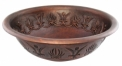 Round Copper Vanity Sink, Chinese Crown Decorated