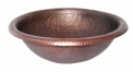 Round Hammered Copper Vanity Sink