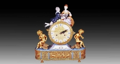 lovers and children with 24K gold plated table clock